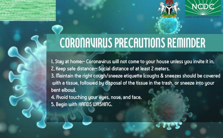 Coronavirus Precautions Reminder